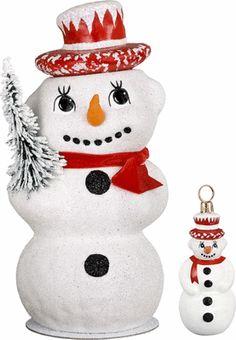 INO SCHALLER RETIRED RED HAT SNOWMAN PAPER MACHE CANDY CONTAINER