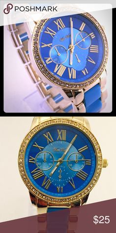 Womens blue and gold combo Gold case with brilliant blue arcylic accent.  This is quartz movement watch and small dials are only for design.  Close clasp watch fashion watch is not meant for water, however few drops might be okay.  It is brand new and will ship to for free.  Please inquire with your concerns, thank you Accessories Watches