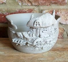 'Cottage by the sea' special commission Yarn Bowl. Unfired white earthenware by Earth Wool & Fire
