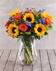 Mixed Sunflower And Rose Vase Fake Flower Arrangements Sunflower Arrangements Flower Arrangements Diy