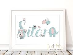 Personalised Name Print - Unique Baby Gift - Customisable Art for Kids - Room Nursery Decor - Name Illustration - Christening Gift by Firstepimages on Etsy