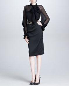 -4EWK Oscar de la Renta Silk Ruffle-Cuff Blouse & Duchess Satin Pencil Skirt