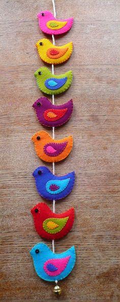 colorful felt birds garland