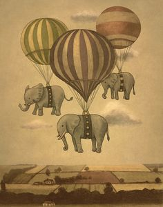 Can someone please tell me why I like this print by artist Terry Fan so much? I really shouldn't - I look at it, and I worry about the elephants, how scared they must be, not to mention the unsuspecting townsfolk below who are out for a stroll or perhaps washing their cars. Still, I look at it and smile. Weird.