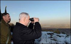 Prime Minister Benjamin Netanyahu surveying the Israeli Golan Heights, January 13, 2013. Rock Attacks spread to Golan Neights. Young Jewish women and a family come Under Attack from arab elementary students hurling rocks 11-21-14
