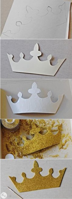Knight baby shower: DIY photobooth gold-glitter crown (how-to).  Also cute for decoration!