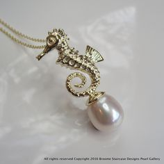 Cultured Pearl Gold Seahorse Pendant