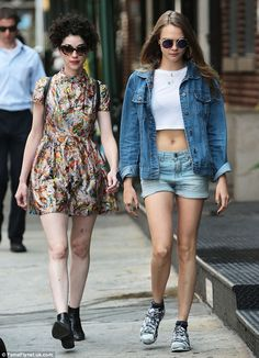 Abs-olutely stunning: Cara showed off her toned tummy in a sheer, fitted crop top, coupled...