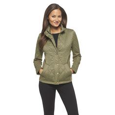 Women's Quilted Jacket Plaid Gray�- Merona