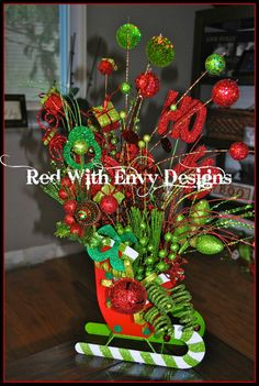 Christmas Centerpiece by RedWithEnvyDesigns on Etsy, $115.00