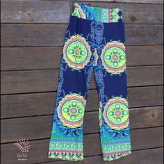 """Mandala Pants  ✔️ Brand New ✔️Material: Nylon, Polyester ✔Lying Flat Measurements                             SMALL: Full length 37"""" Waist: 12-19"""" Hips 20+ (Stretch).                                                          LARGE: Full length 39'5 Waist 15-23"""" Hips 23+ (Stretch) Crotch 12"""" Boutique Pants"""