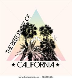 Palm tree print in triangle shape and in multicolor, for t-shirt graphic and other uses - stock vector