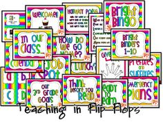 Teaching in Flip Flops: Colorful Classroom, Blank Labels