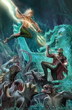Aquaman vs Ocean Master and the Trench Art by Stjepan Sejic Marvel Dc Comics, Aquaman Dc Comics, Dc Comics Art, Marvel Vs, Comic Books Art, Comic Art, Book Art, Dragon Comic, Univers Dc