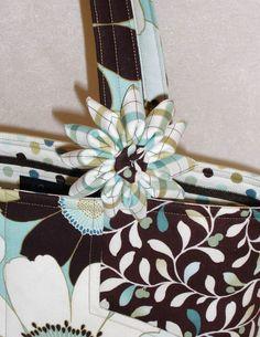 Lazy Girl Designs Bag with Clover Kanzashi Flower Embellishment