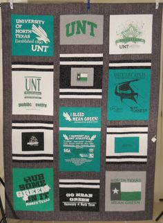 University of North Texas T Shirt Quilt / Mean by SamBabyStudio