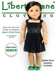 Liberty Jane Aspen's Party Dress Doll Clothes Pattern for 18 inch American Girl Dolls - PDF. $3.99, via Etsy.
