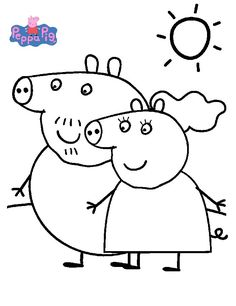 Printable Peppa Pig Coloring Pages. Have a Joy with Peppa Pig Coloring Pages. Do your children like to color pictures? If they do, the Peppa pig coloring pages Peppa Pig Coloring Pages, Family Coloring Pages, Elephant Coloring Page, Cat Coloring Page, Cartoon Coloring Pages, Coloring Pages For Kids, Coloring Books, Peppa Pig Pictures, Peppa Pig Drawing