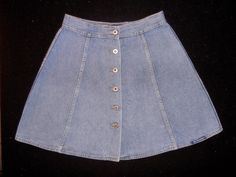 ~EUC~No Excuses Vintage Jean Full Flared Skirt Buttoned Front 100% Cotton ~Clean #NoExcuses #ALine