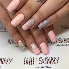 Pretty Pink Nails and Silver Glitter
