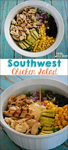 This Southwest Chicken Salad Recipe is my favorite to make when I am short on time but still want something delicious and filling. ReadySetChicken AD (Bake Chicken For Salad) Healthy Snacks, Healthy Eating, Healthy Recipes, Easy Recipes, Salad Recipes Healthy Lunch, Lentil Recipes, Vegan Meals, Easy Salads, Easy Meals