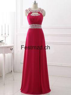 Fuchsie Perlen Lang Chiffon Abendkleider