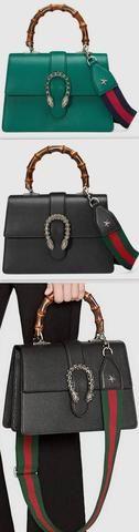 Dionysus leather top handle bag, Green or Black