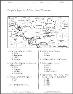 China - Free Printable Map Worksheet for Grades 4-6. CCSS for Geography/Social Studies. http://studenthandouts.com/01-Web-Pages/2014-01/china-map-geography-worksheet.html