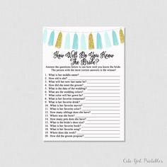 Blue Tassel Bridal Shower How Well Do You Know the Bride To Be Game - How Well Do You Know The Bride Printable Game 0002
