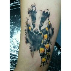 Hufflepuff Badger,   Based on a drawing she brought in.    #harrypotter #honeybadger #badger #scarf #hufflepuff #cute #tattoo #tattoos #art #watercolortattoo