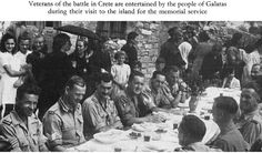 Veterans of the battle in Crete are entertained by the people of Galatas during their visit to the island for the memorial service