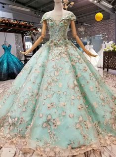 Green Ball Gown Tulle Appliques Bateau Cap Sleeve Wedding Dress