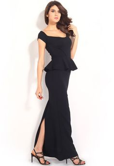 Beautiful Drop Shoulder evening gown in Peplum Style by Urban Chic. Specifications: Off Shoulder Peplum Short sleeves - Back slit Full length. Detail:This fab Formal Dresses Online, Evening Dresses Online, Cheap Evening Dresses, Chiffon Maxi Dress, Peplum Dresses, Black Peplum, Prom Party Dresses, Prom Dress, Moda Online