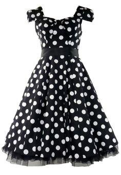 f9485c414a02b Vintage Tea Prom Dress Big Polka Dot Black & White Tiger Milly, so cute.
