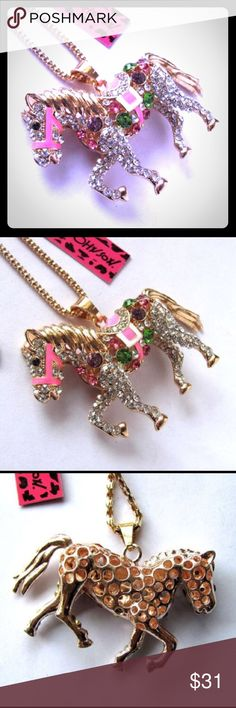 """Betsey Johnson Swarovski Crystal Horse Necklace BETSEY JOHNSON MULTICOLORED SWAROVSKI CRYSTAL HORSE PENDANT NECKLACE - Alloy, Genuine Swarovski Crystals. Necklace Length: 28"""" + 3"""" Extension. New With Tags. Offers Welcomed. Trades Considered. Betsey Johnson Jewelry Necklaces"""