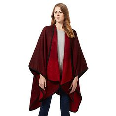 Principles by Ben de Lisi Red two tone wrap- Debenhams, Kimono Top, Red, Capes, Women, Fashion, Cape Clothing, Moda, Mantles