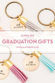Celebrate your Alpha Phi Grad with these trendy custom keychains! Alpha Phi Grad Gift | APhi Sorority Grad Keychain | College Graduation Gift Idea | Grad Gift for Her | Grad Gift for Girlfriend | Grad Gift for Daughter | Grad Gifts for Best Friends | Best Grad Quotes | Graduation Tassel Keychains #HappyGraduation #SororityGrad Pi Beta Phi, Kappa Delta, Tri Delta, Alpha Chi, Phi Mu, Sigma Kappa, Sorority Graduation, Graduation Tassel, College Sorority