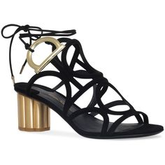 Salvatore Ferragamo Suede Vinci Sandals 55 (4887850 PYG) ❤ liked on Polyvore featuring shoes, sandals, suede leather shoes, caged shoes, cage sandals, salvatore ferragamo sandals and suede shoes