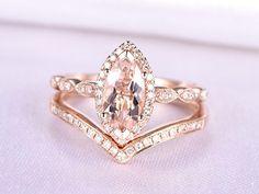 Morganite Ring Set Pink Morganite Engagement Ring 10x5mm