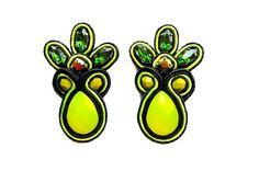 PINEAPPLE soutache earrings in green and neon by BlackMarketJewels, £48.00
