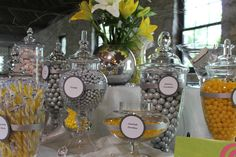 Silver, Yellow and White Candy Buffet...time to start going to yard sales looking for jars!
