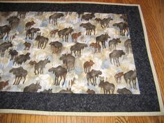Quilted Table Runner with Moose