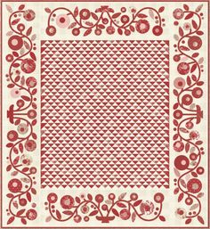 Patty's Posies Quilt Kit by Minick and Simpson - Miss Scarlet Fabric by Moda Fabrics Two Color Quilts, Blue Quilts, Scrappy Quilts, Antique Quilts, Vintage Quilts, Scarlet, Red And White Quilts, Half Square Triangle Quilts, Patchwork Quilt Patterns