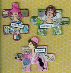 Sewing altered puzzle pieces.