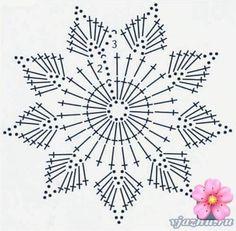 beautiful, beautiful, christmas center in crochet. View and share - Her Crochet Crochet Snowflake Pattern, Crochet Doily Diagram, Crochet Stars, Crochet Snowflakes, Crochet Flower Patterns, Doily Patterns, Thread Crochet, Crochet Motif, Crochet Designs