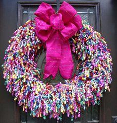Door Wreaths, Birthday Party Wreath, Birthday Door Decor, Birthday Wreath, Curly Ribbon Wreaths Say its a party with this rainbow curly ribbon Wreath Crafts, Diy Wreath, Door Wreaths, Diy Crafts, Ribbon Wreaths, Wreath Ideas, Holiday Wreaths, Holiday Crafts, Christmas Decorations