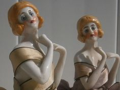 """Two Antique Porcelain Pin Cushion Dolls German 6"""" with legs"""