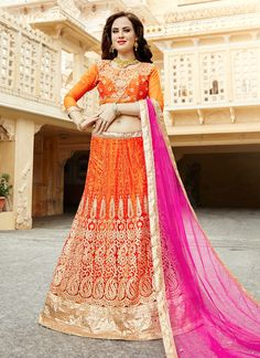 Buy Mystic Orange Lehenga Choli, Online #fashion #womenwear #picoftheday #semistitchedsuits #sale