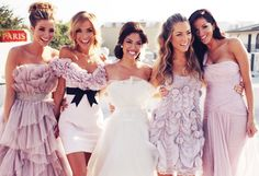Absolutely love the mix & match bridesmaid dresses tulle, chiffon, puffy