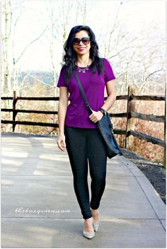 Elizabeth & Clarke Review, Elizabeth and Clarke Discount Code, Outfit Ideas, Purple Tee, Legging Pants, Casual Look
